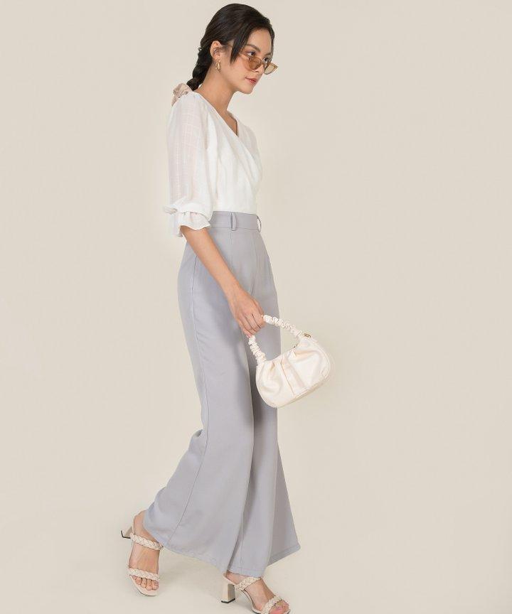 Siobhan Belted Wide Leg Pants - Pale Grey