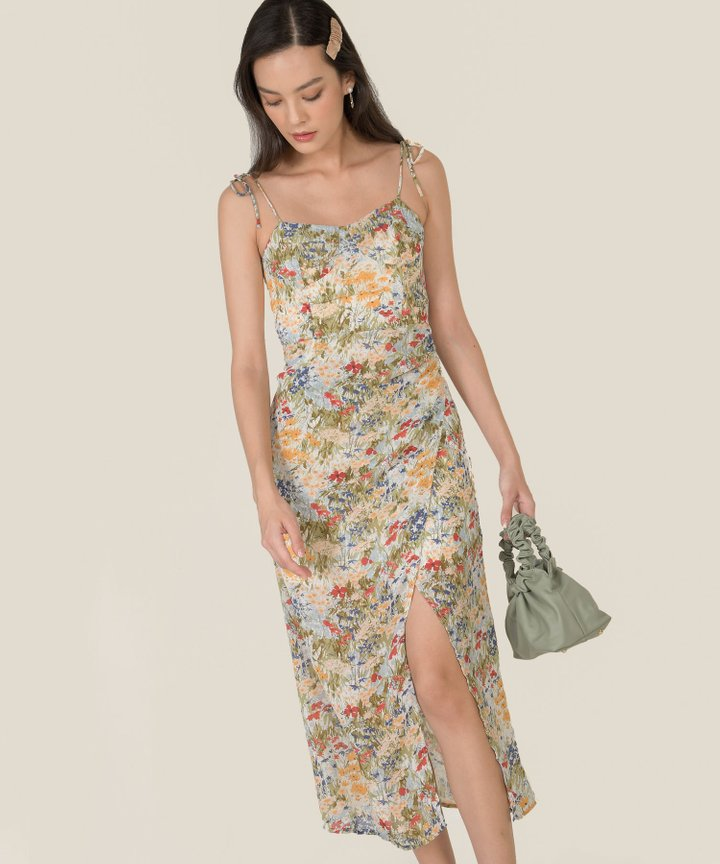 Giada Floral Overlay Midi Dress