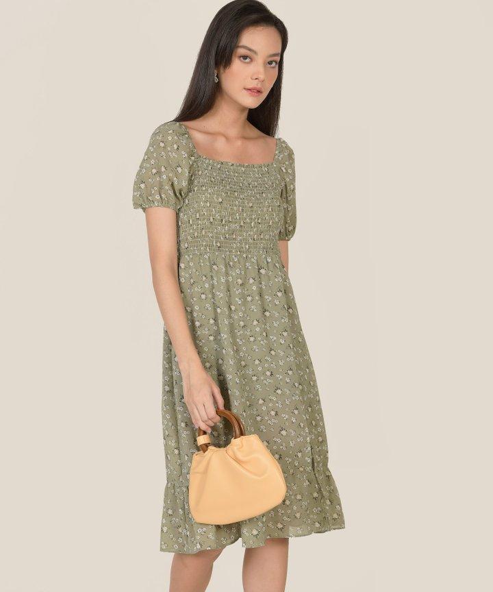 Harlan Floral Smocked Midi Dress