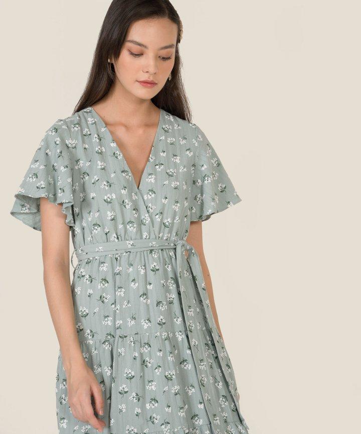 HVV Atelier Diorette Floral Textured Midi Dress - Pale Turquoise