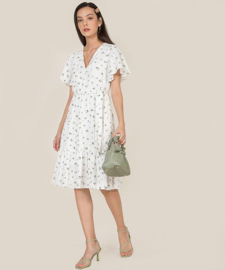 HVV Atelier Diorette Floral Textured Midi Dress - White