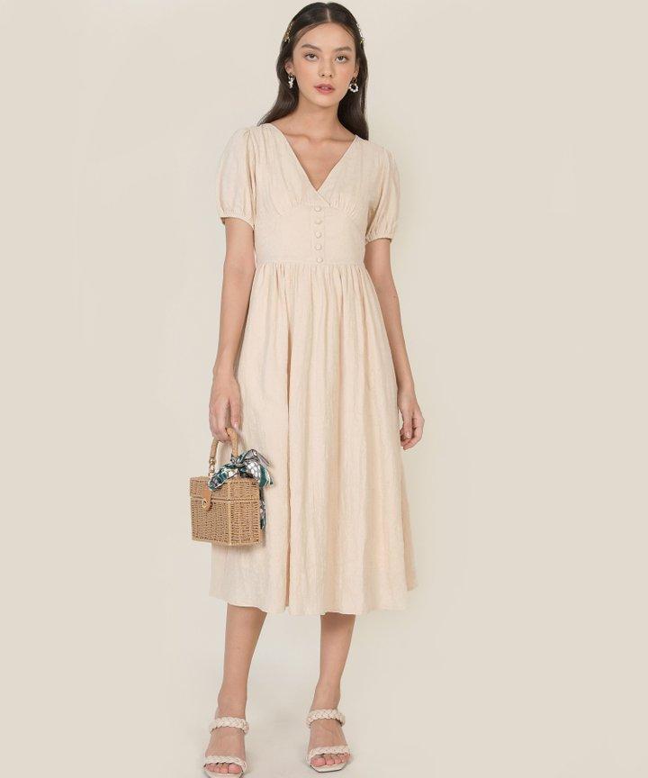 Lillet Textured Midi Dress - Ecru