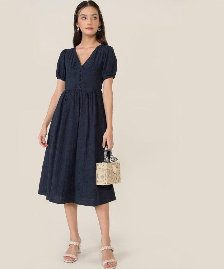 Lillet Textured Midi Dress - Midnight Blue