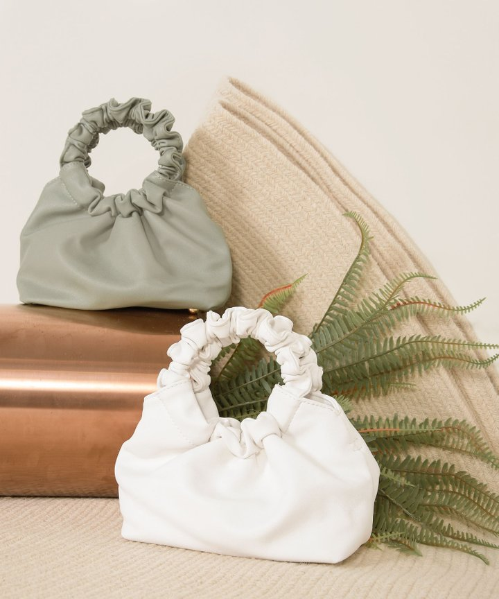 Lucy Ruched Handle Bag - Seaspray