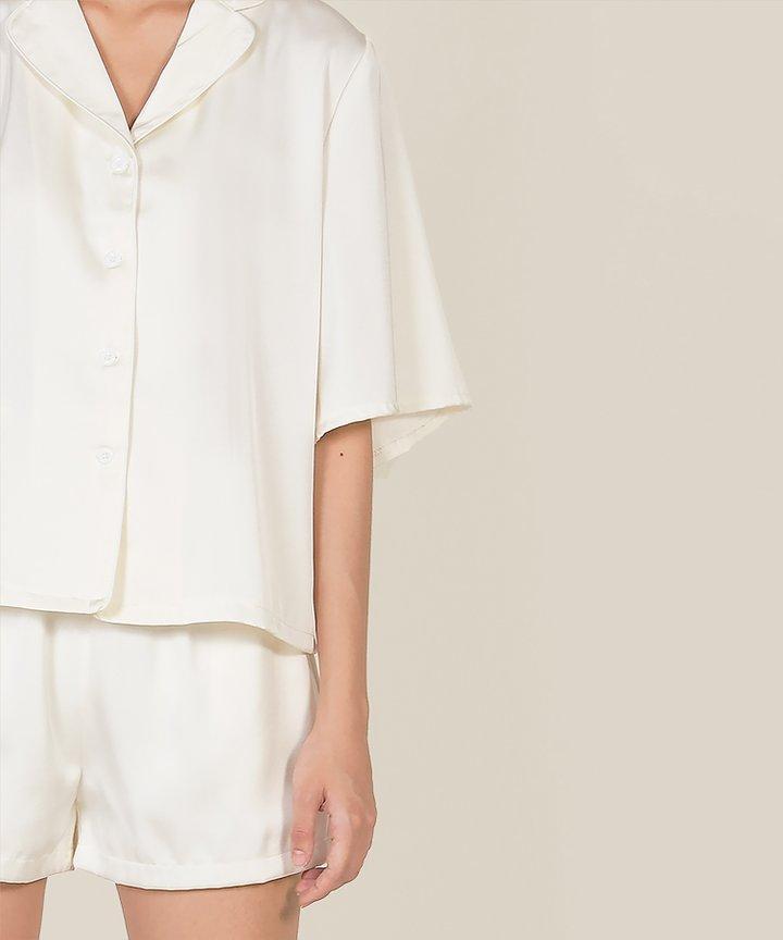 Muse Satin Shorts - Pearl White