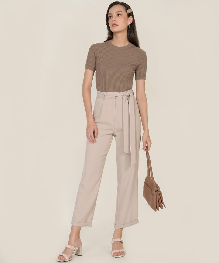 Payton Cigarette Pants - Beige Grey