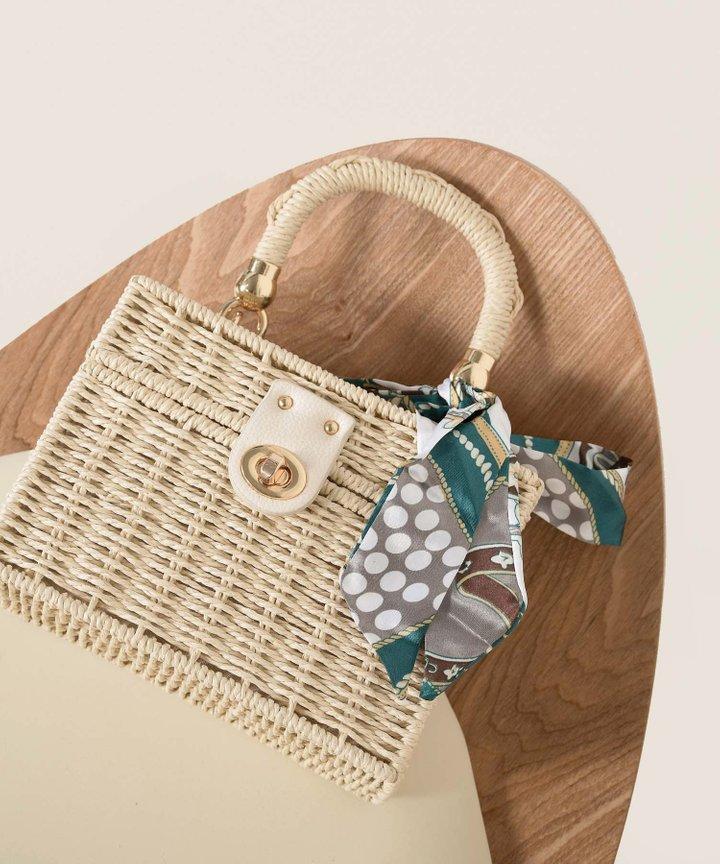 Picnic Rattan Box Handbag - Natural (Backorder)