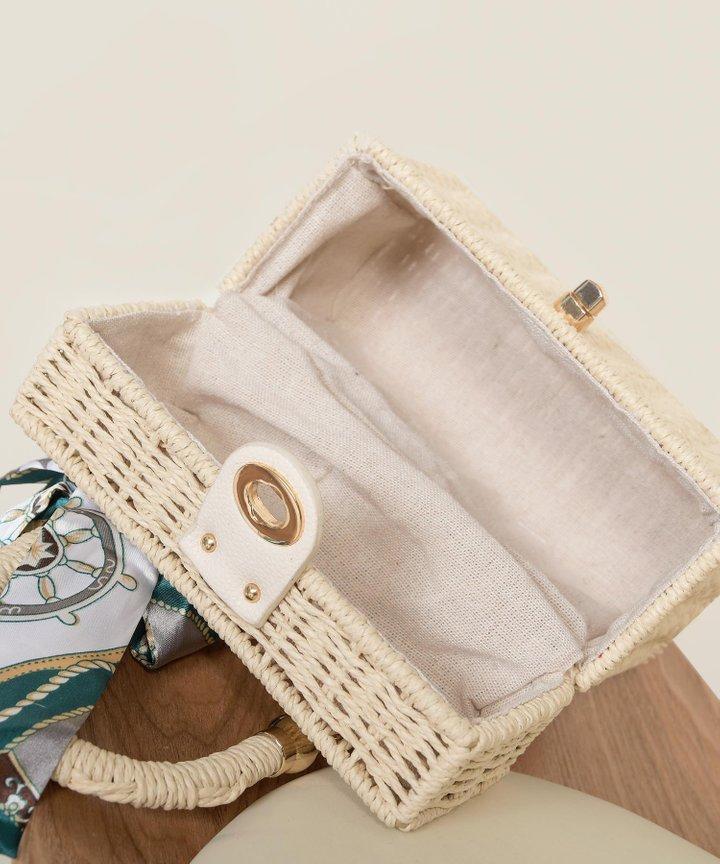 Picnic Rattan Box Handbag - Natural (Restock)