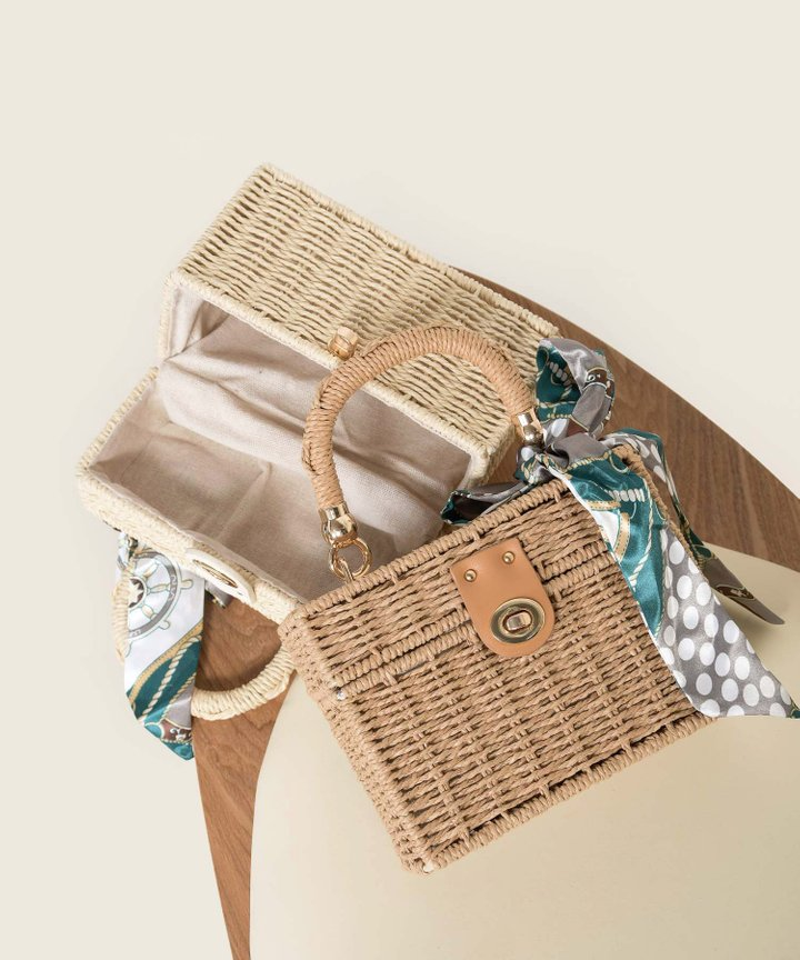 Picnic Rattan Box Handbag - Toasted (Restock)