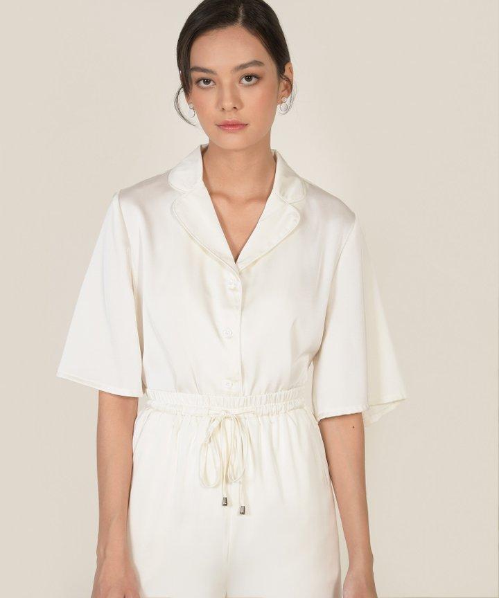 Reverie Satin Shirt - Pearl White