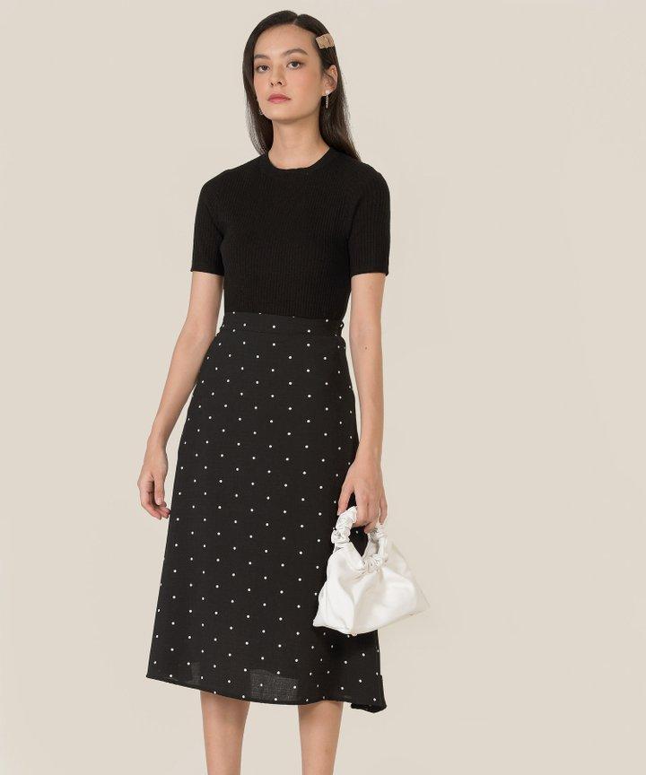 Rigel Polka Midi Skirt - Black