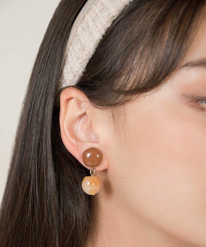 Alley Pendant Earrings - Brown