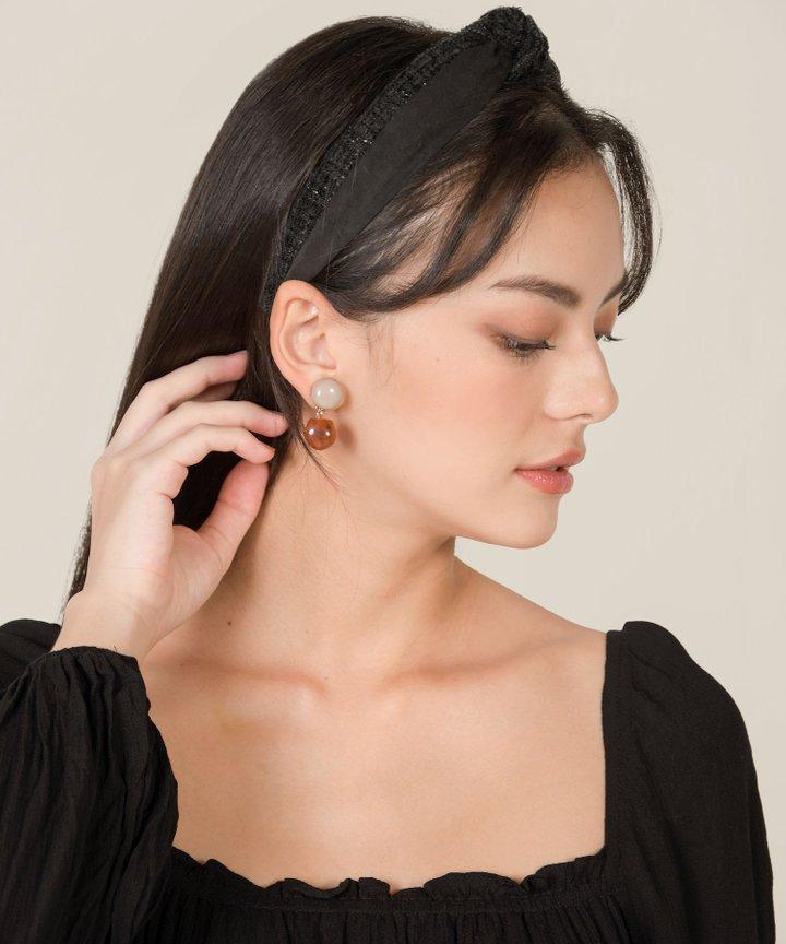 Almany Tweed Knot Headband - Black