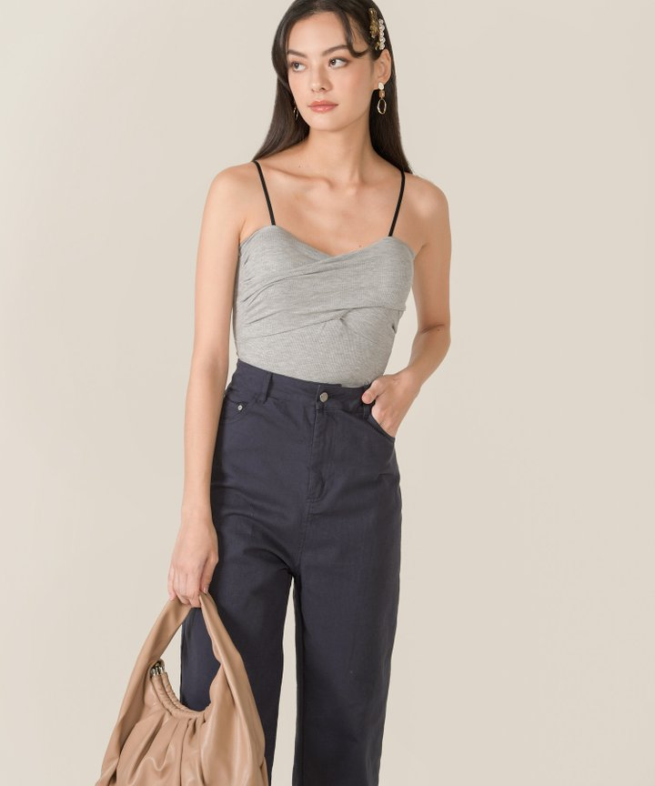 Ando Ruched Knit Camisole - Heather Grey