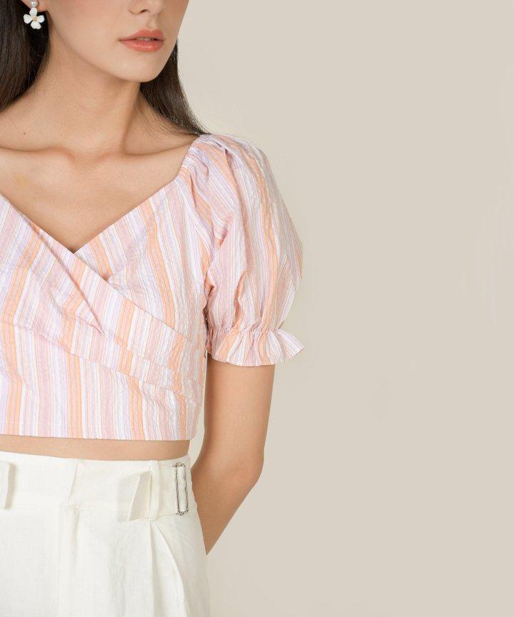 Anouk Wrap Cropped Top - Pink Stripes