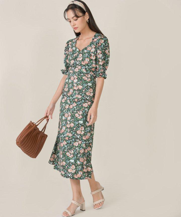Botaniste Floral Puff Sleeve Midi Dress