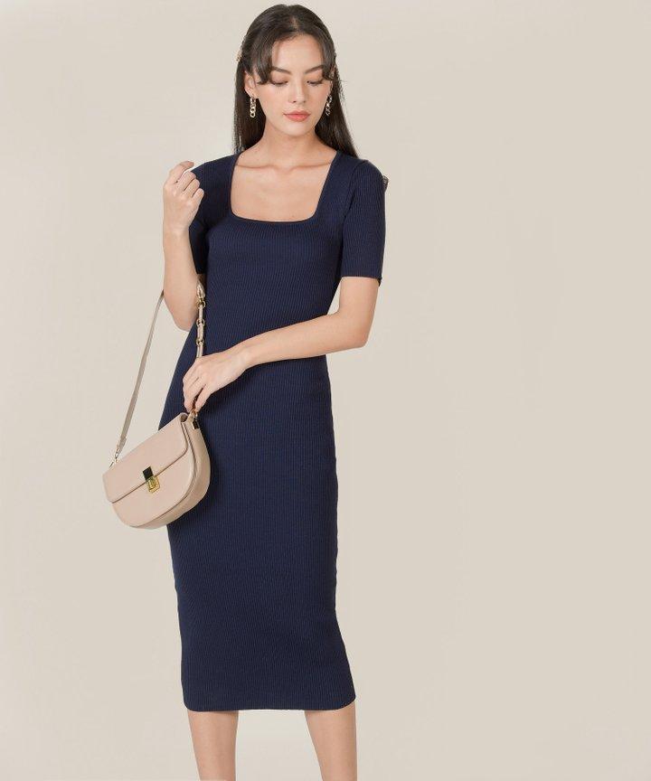Carmela Ribbed Knit Bodycon Midi Dress - Navy