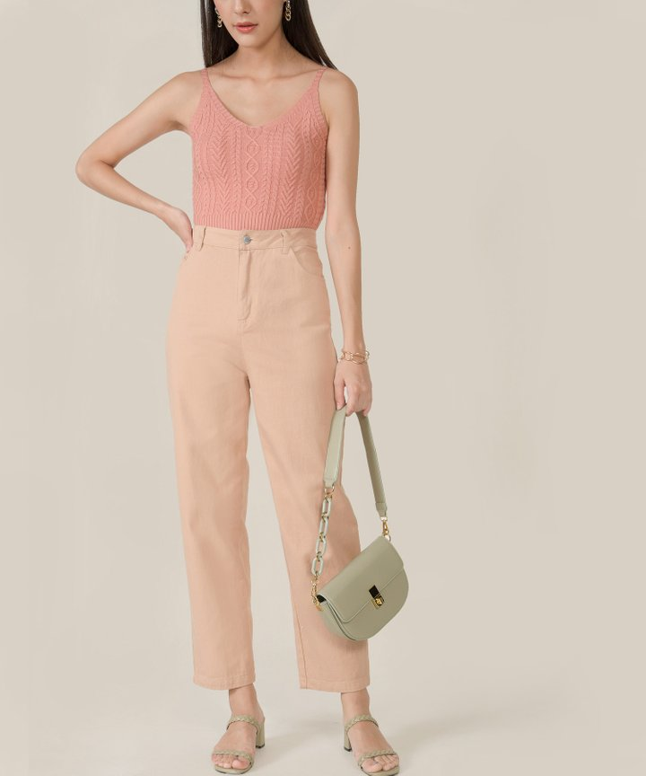 Carson High Waist Tapered Jeans - Pale Apricot
