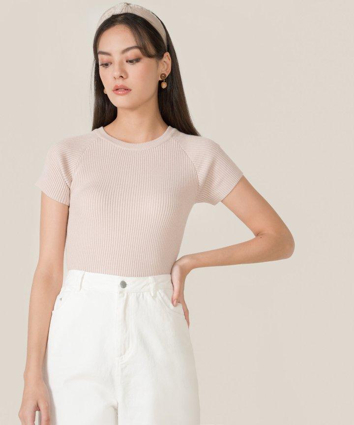 Etta Knit Twist Back Top - Pale Blush