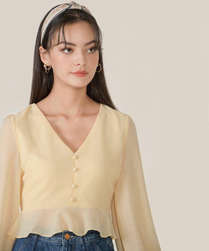 Finley Textured Peplum Blouse - Daffodil