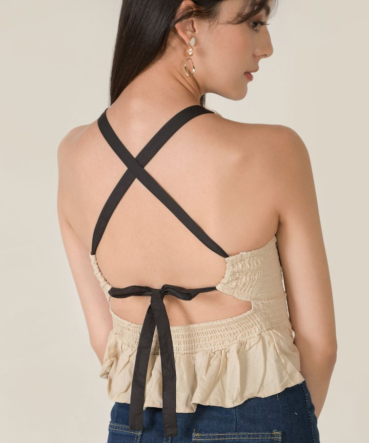 Hesson Smocked Lace Up Peplum Top