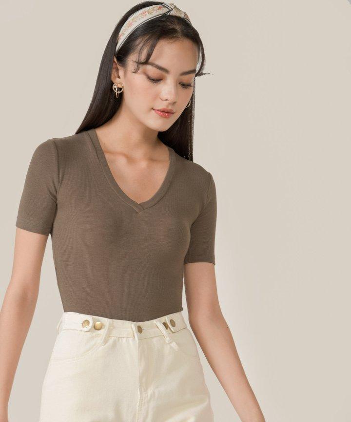 Honeycomb Ribbed Knit Bodysuit - Dark Olive