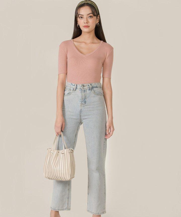 Honeycomb Ribbed Knit Bodysuit - Rose Blush