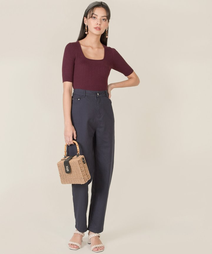Idris Ribbed Knit Cropped Top - Burgundy
