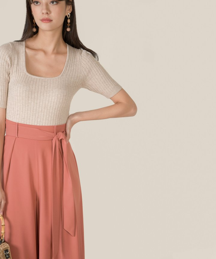 Idris Ribbed Knit Cropped Top - Oat