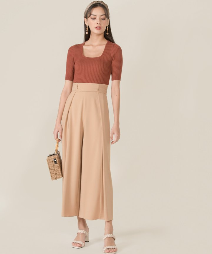 Idris Ribbed Knit Cropped Top - Red Rust