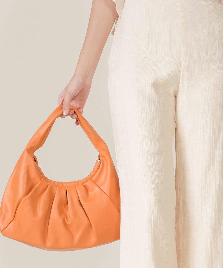 Iggy Ruched Hobo Bag - Tangerine