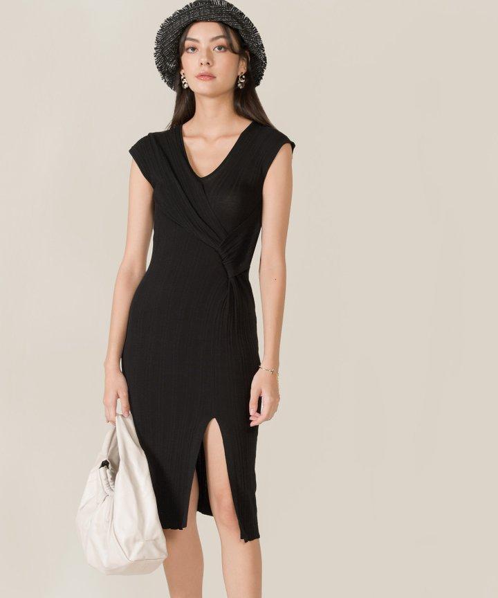 Ischia Plisse Knit Midi Dress - Black