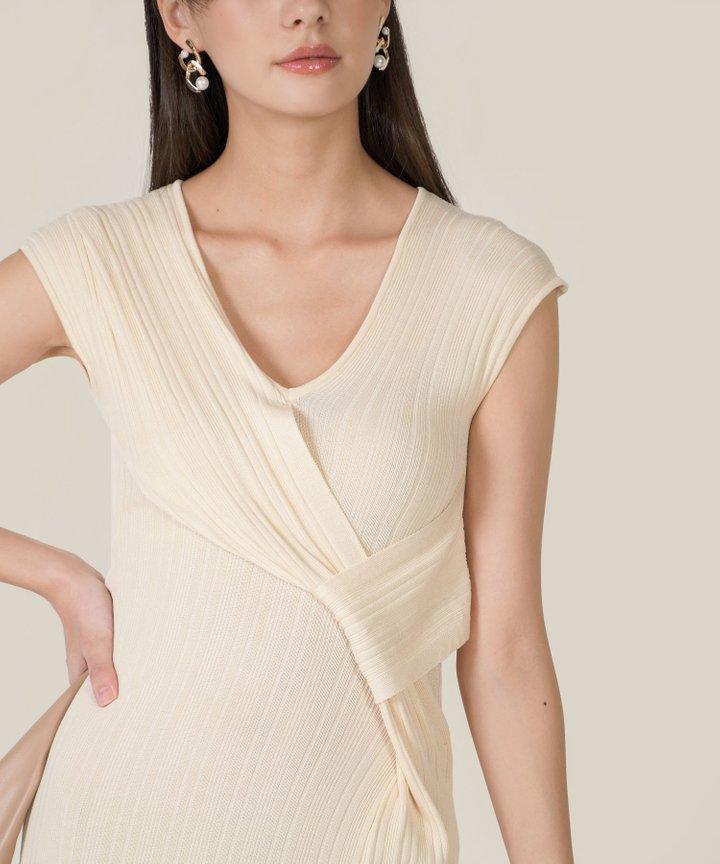 Ischia Plisse Knit Midi Dress - Cream