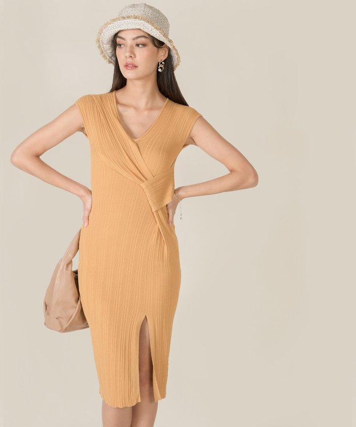 Ischia Plisse Knit Midi Dress - Pale Marigold