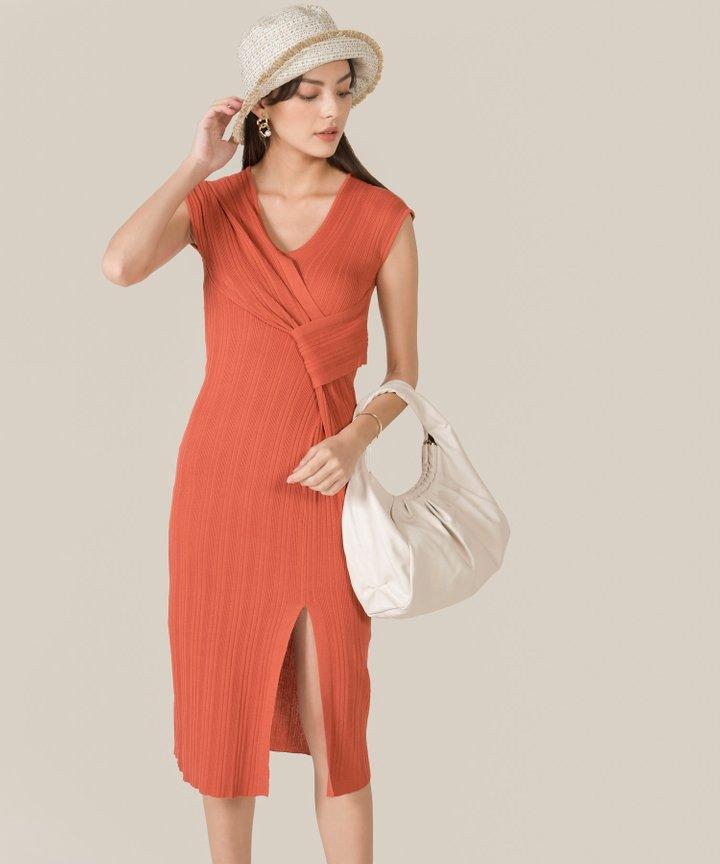 Ischia Plisse Knit Midi Dress - Terracotta