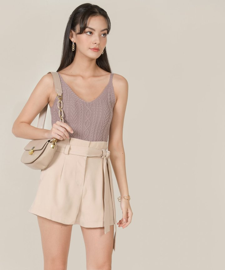Kahlua Cable Knit Cropped Top - Dust Thistle