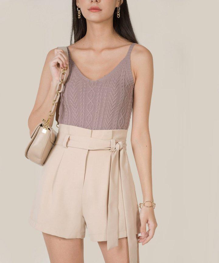 Franca Paperbag Shorts - Pale Sand