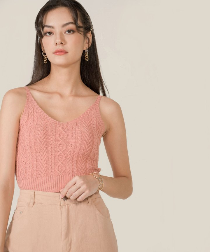 Kahlua Cable Knit Cropped Top - Peach Pink