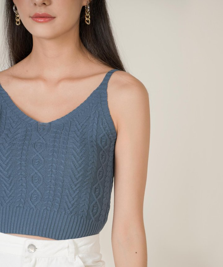 Kahlua Cable Knit Cropped Top - Teal Blue