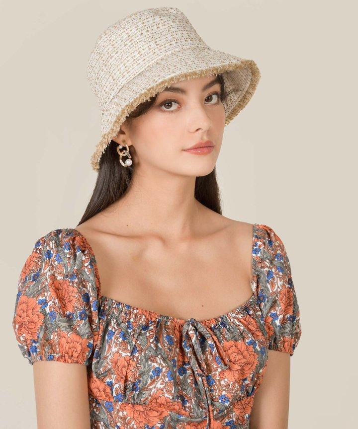 Kent Fringed Tweed Bucket Hat - Sand (Backorder)