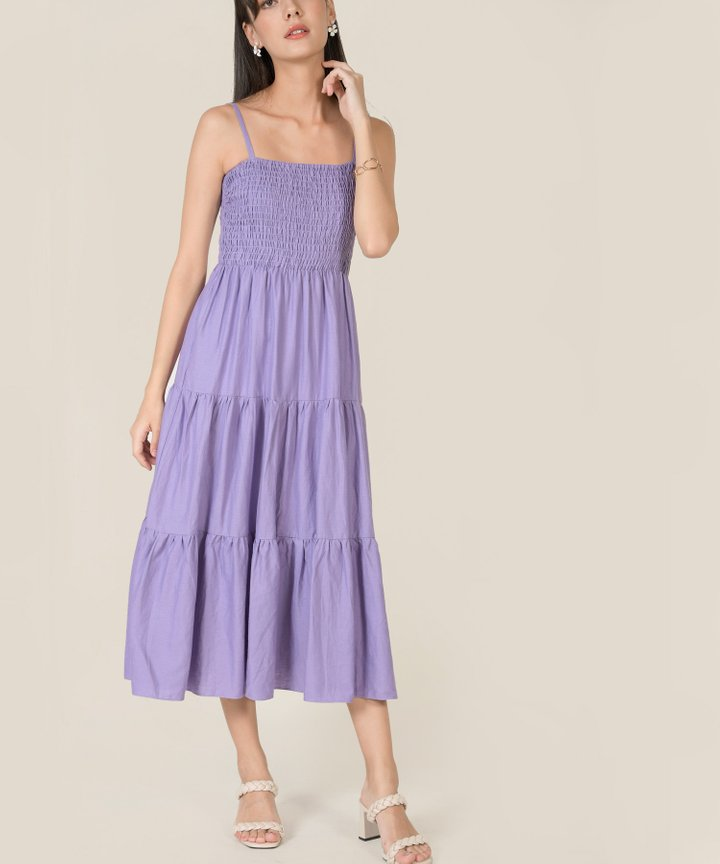 Lalique Smocked Maxi Dress - Lavender