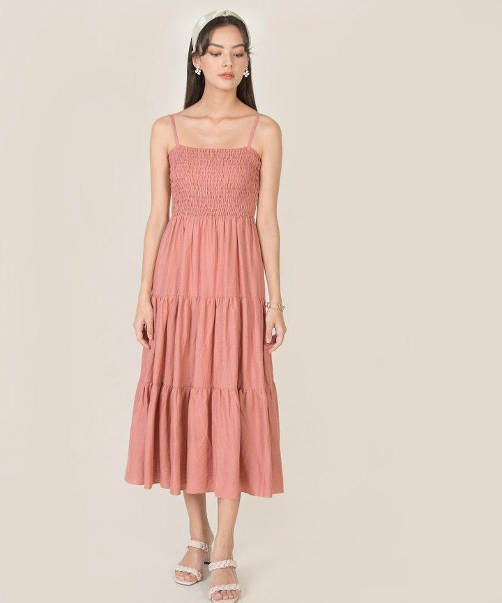 Lalique Smocked Maxi Dress - Rose Pink