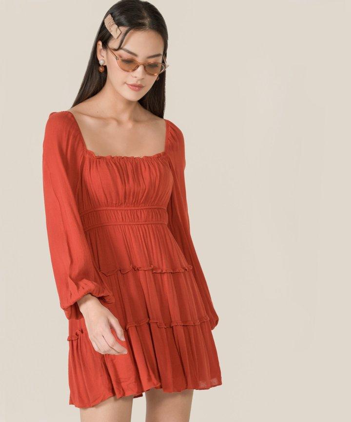 Mariposa Ruffle Tiered Dress - Vermillion