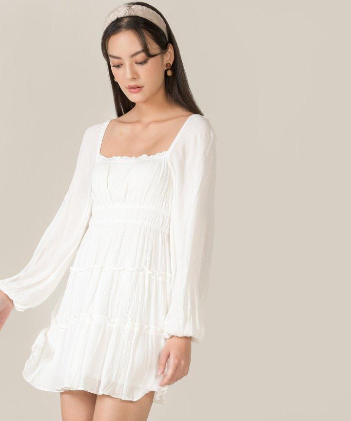 Mariposa Ruffle Tiered Dress - White