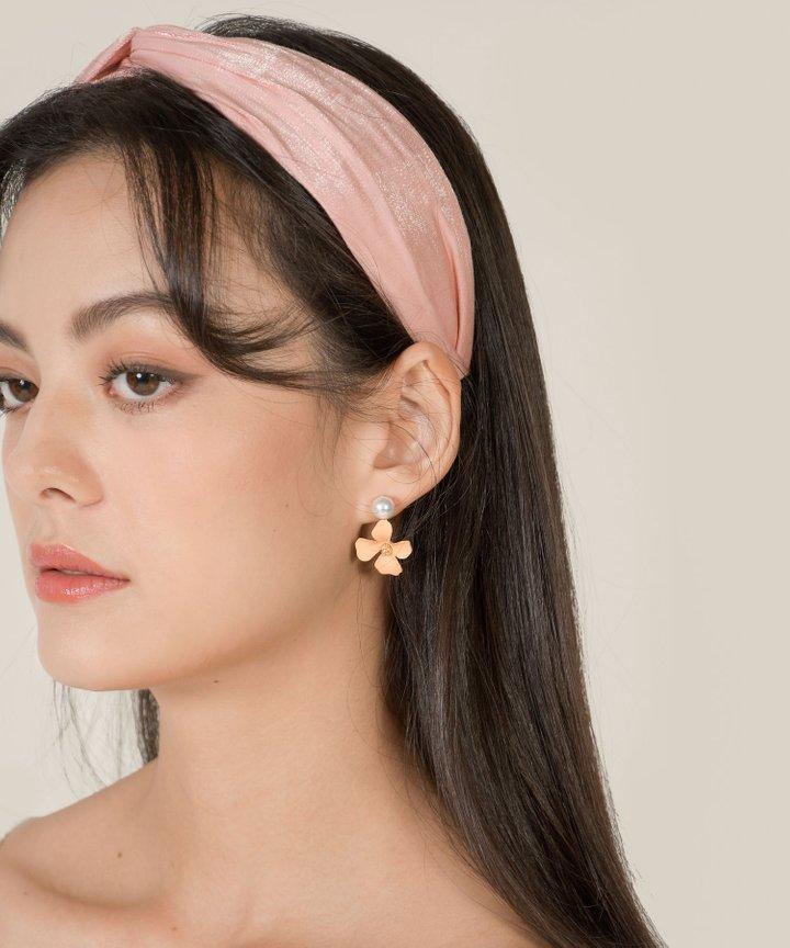 Passaic Floral Pearl Earrings - Orange Sorbet