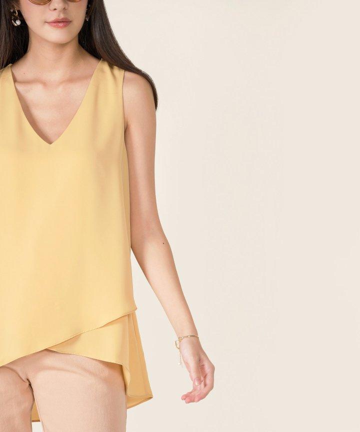 Paula Asymmetrical Overlay Top - Daffodil