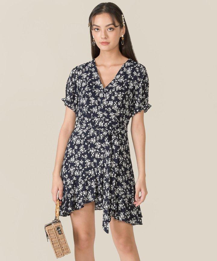 Rue Floral Ruffle Overlay Dress - Midnight Blue