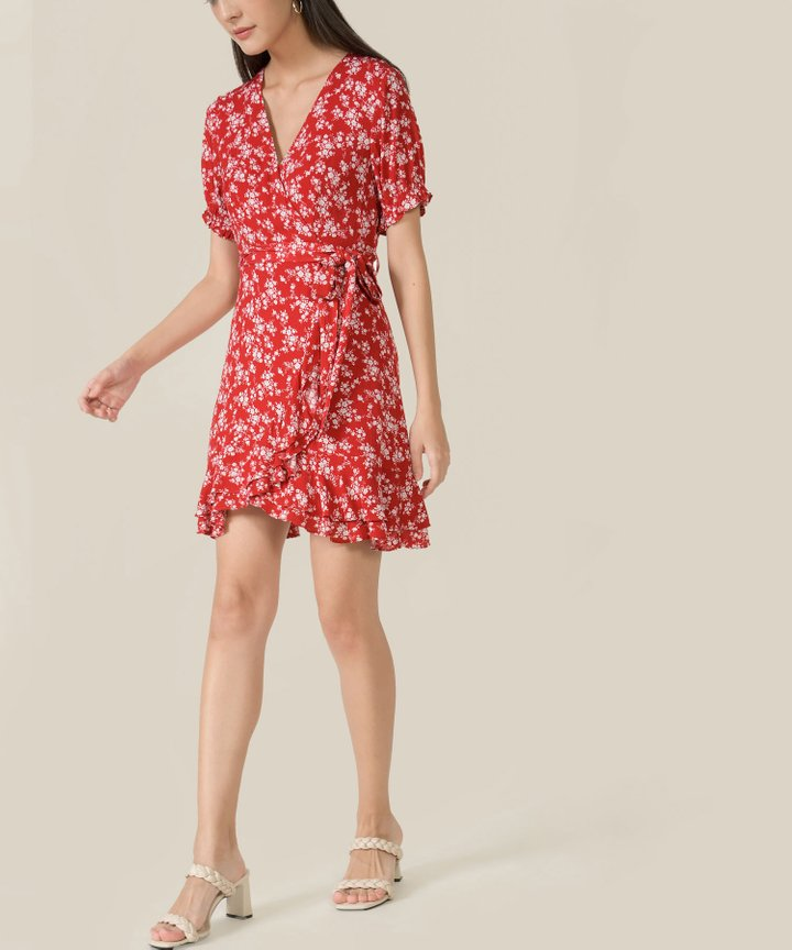 Rue Floral Ruffle Overlay Dress - Scarlet