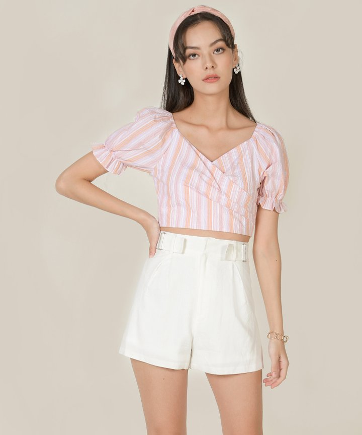 Viola Linen Buckle Shorts - White