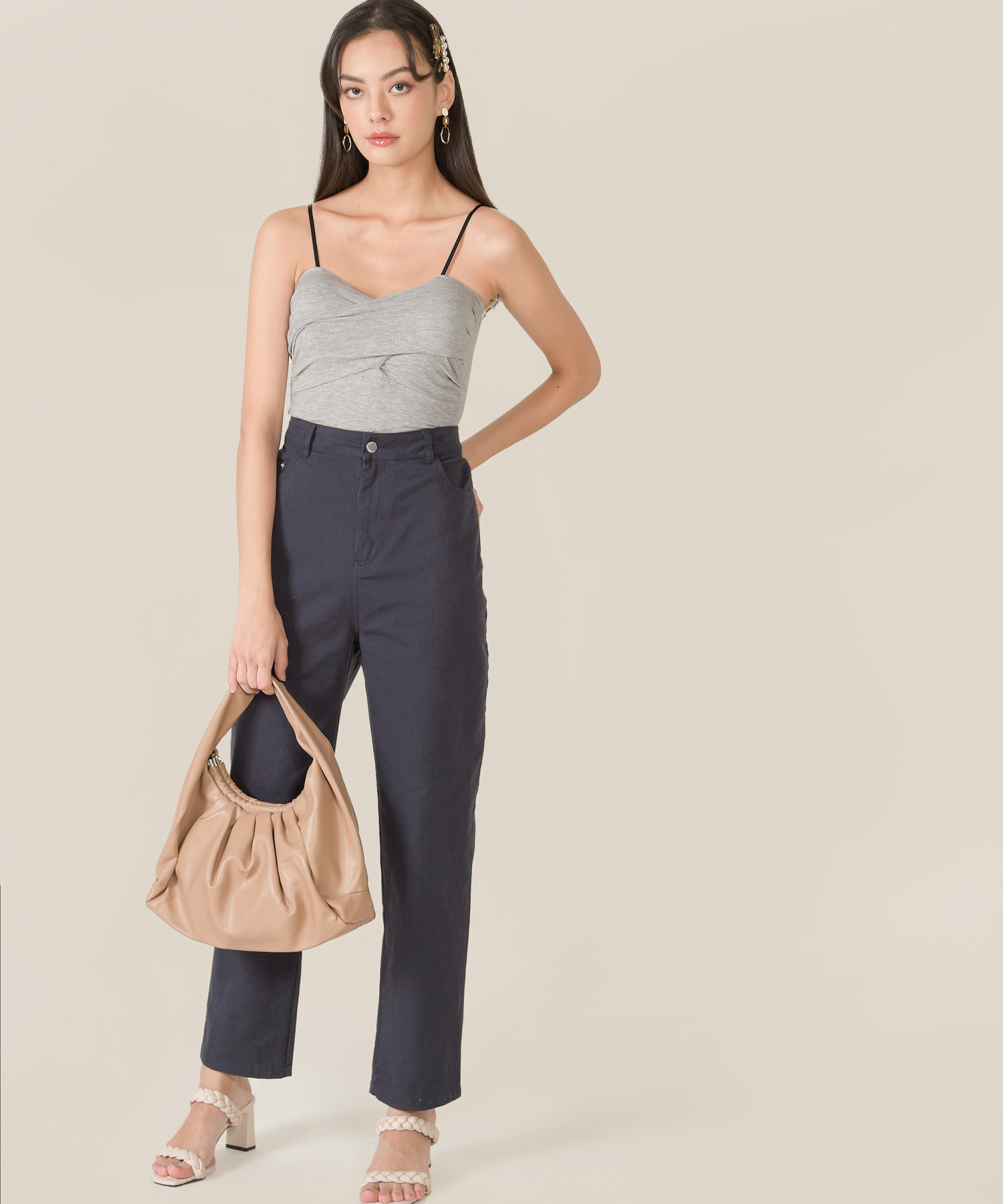 ando-ruched-knit-camisole-heather-grey-2